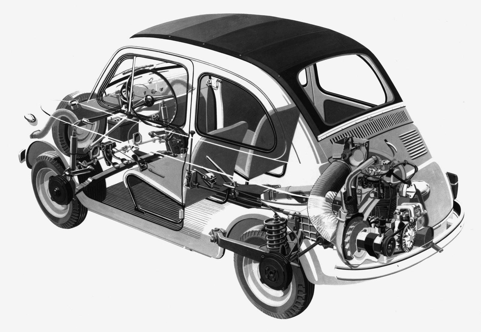 Fiat 500, interni
